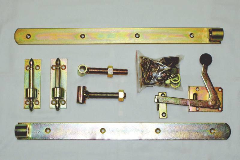 Beschlagset f/ür Einzeltore Blau verzinkt mit 60 cm Ladenb/ändern gekr/öpft gerundet